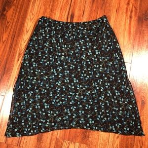 Express Teal Turquoise black print skirt size 10